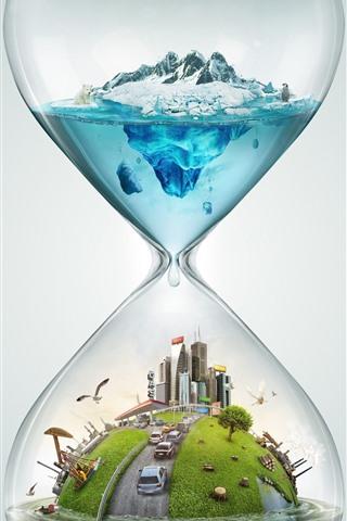 iPhone Wallpaper Hourglass, city, cars, polar bear, snow, sea, creative design