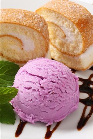 iPhone Wallpaper Ice cream and cake, delicious dessert