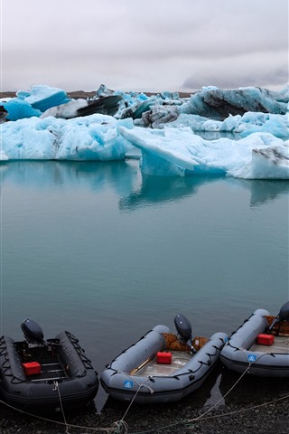 iPhone Wallpaper Iceland, blue ice, boats, sea