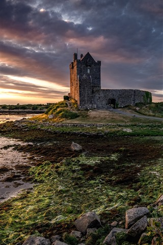 iPhone Wallpaper Ireland, Galway, castle, clouds, river, dusk