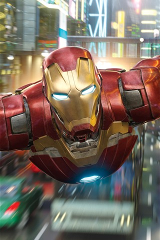 iPhone Wallpaper Iron Man flight, city, Marvel superhero