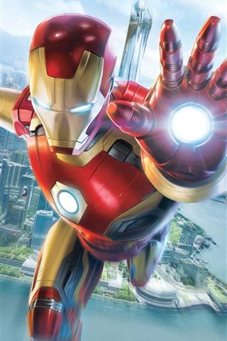 iPhone Wallpaper Iron Man, flight, hand, city, sky