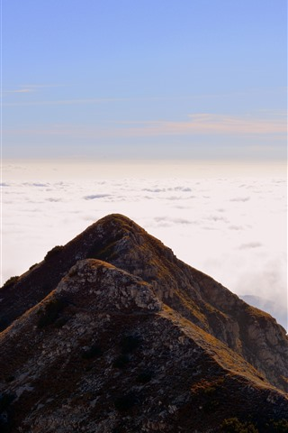iPhone Wallpaper Italy, Carrega Ligure, mountain, clouds