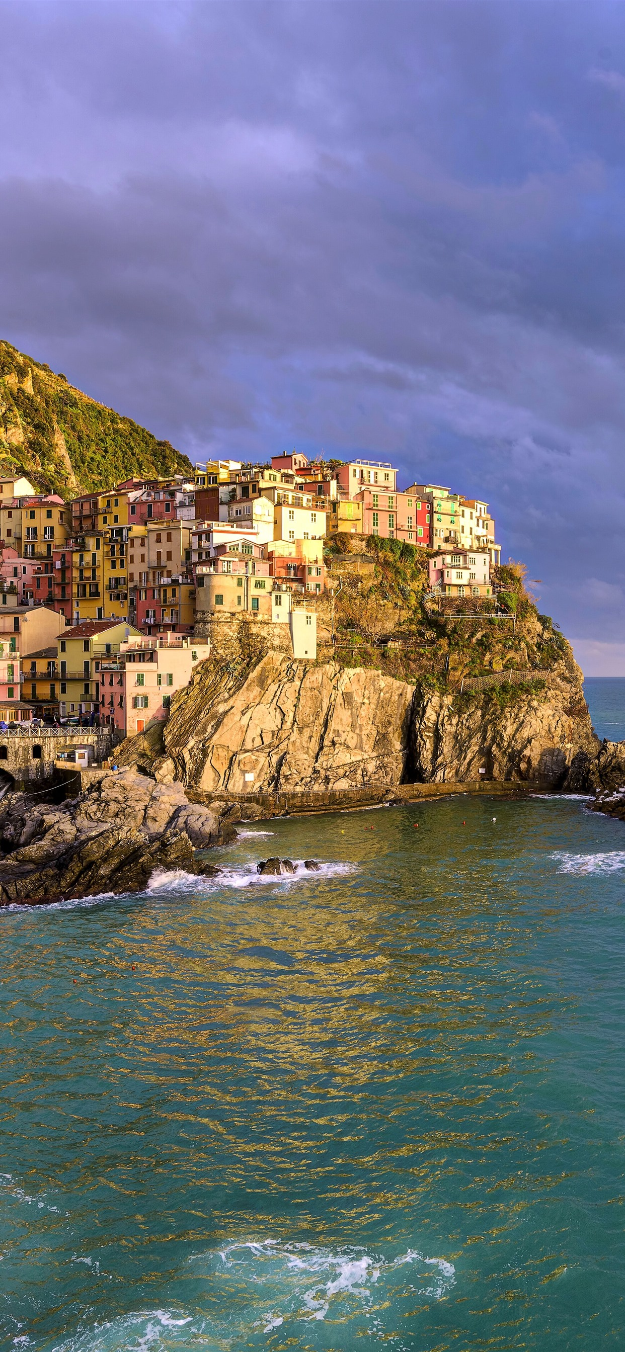 Italy Cinque Terre Ligurian Sea Houses Mountain Clouds