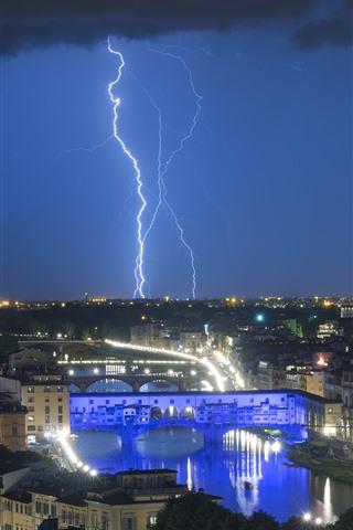 iPhone Wallpaper Italy, Florence, lightning, city, night, lights