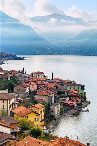 iPhone Wallpaper Italy, Lombardy, city, houses, mountains, river