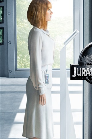 iPhone Wallpaper Jurassic World, blonde girl and dinosaurs
