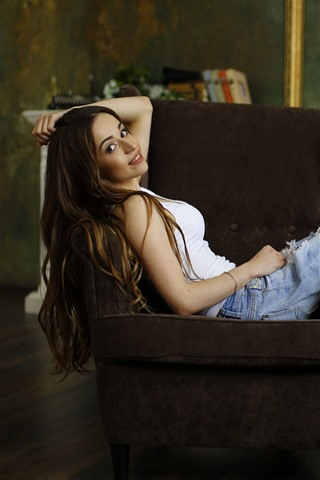 iPhone Wallpaper Long hair smile girl, sit on chair