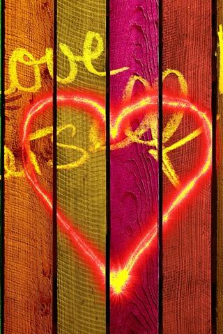 iPhone Wallpaper Love, colors, wood board, girl silhouette
