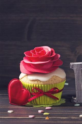 iPhone Wallpaper Love, cupcake, love hearts, red rose