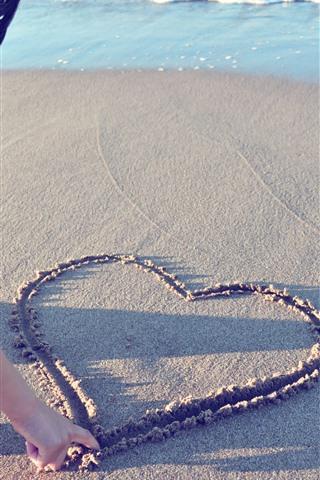 iPhone Wallpaper Love heart, sand, beach, girl, sea