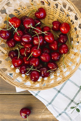 iPhone Wallpaper Many red cherries, basket, fruit