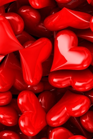 iPhone Wallpaper Many red love hearts, romantic