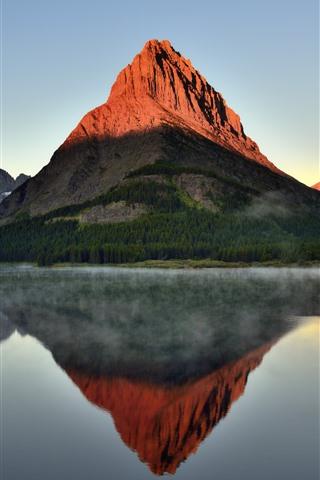 iPhone Wallpaper Mountain, lake, water reflection