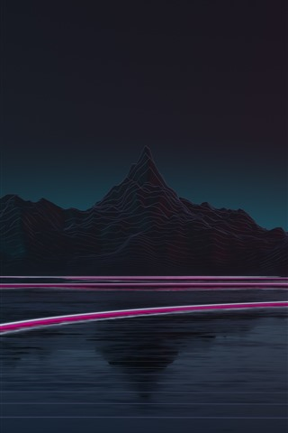 iPhone Wallpaper Mountains, lake, light lines, night, creative picture