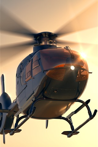 iPhone Wallpaper Multi-purpose helicopter, dawn, sunshine