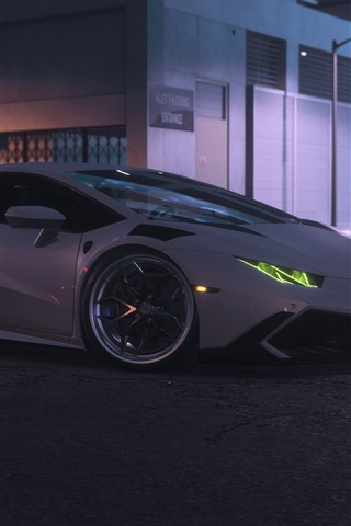 iPhone Wallpaper Need For Speed Payback, White Lamborghini supercar