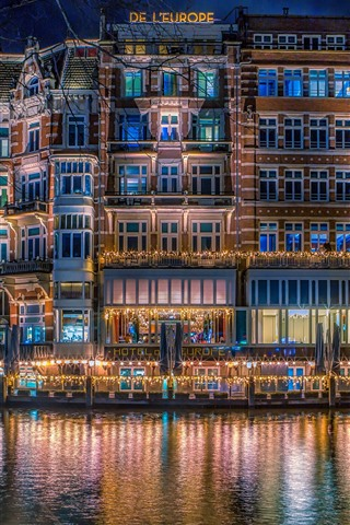 iPhone Wallpaper Netherlands, Amsterdam, city night, houses, river, lights