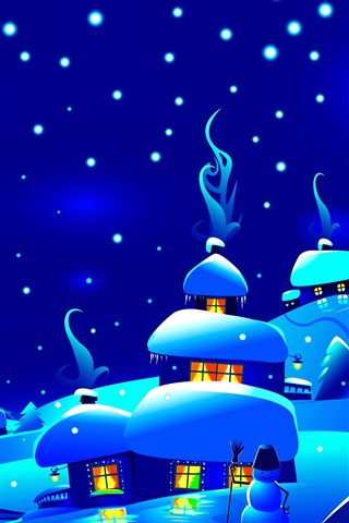 iPhone Wallpaper Night, snow, village, houses, trees, snowflakes, Christmas art picture