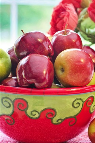 iPhone Wallpaper One bowl of red and green apples, red flowers