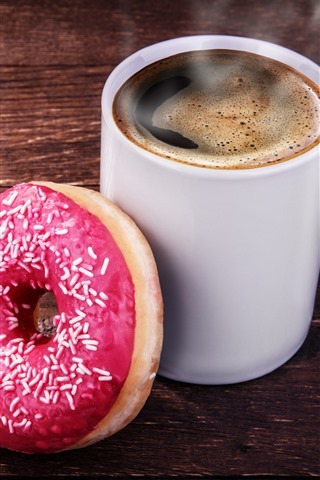 iPhone Wallpaper One cup of coffee and donut