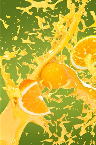iPhone Wallpaper Oranges, juice splash, creative picture
