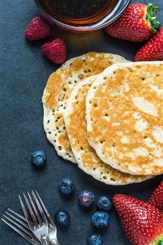 iPhone Wallpaper Pancakes, tea, strawberries, blueberries