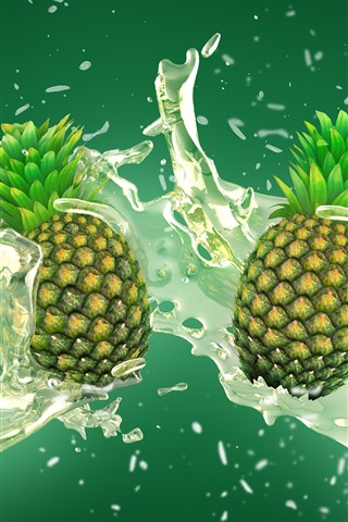 iPhone Wallpaper Pineapples, water splash, art picture
