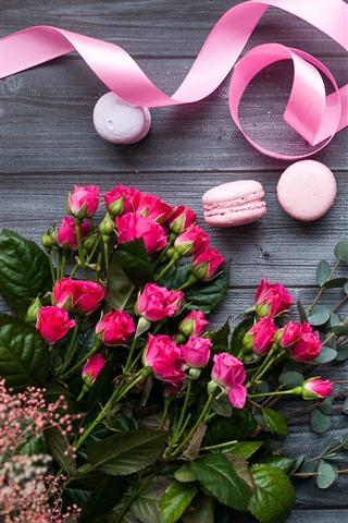 iPhone Wallpaper Pink roses, macaron, ribbon