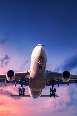 iPhone Wallpaper Plane, flight, sky, clouds, sunset