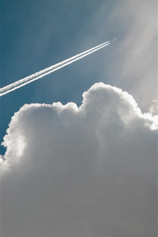 iPhone Wallpaper Plane, sky, clouds, smoke, lines