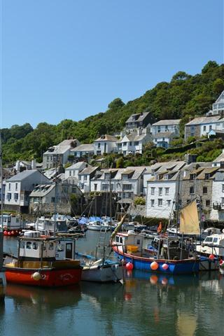 iPhone Wallpaper Polperro village, England, Cornwall, houses, boats, pier