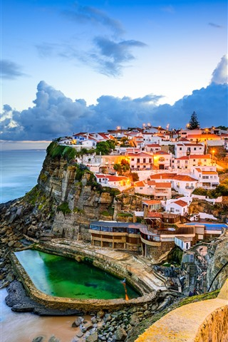 iPhone Wallpaper Portugal, Sintra, city, clouds, sea, sky, dusk