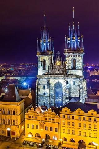 iPhone Wallpaper Prague, Czech Republic, beautiful city night, lights, buildings