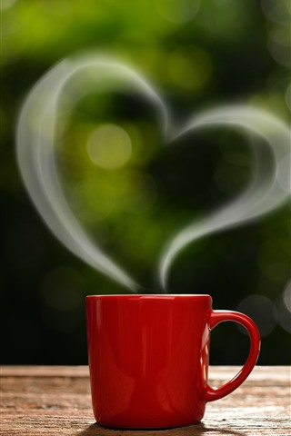 iPhone Wallpaper Red cup, love heart, steam, book