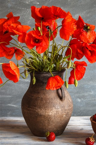 iPhone Wallpaper Red poppy flowers, vase, a bowl of strawberry