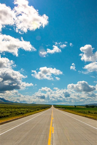 iPhone Wallpaper Road, blue sky, white clouds, mountains