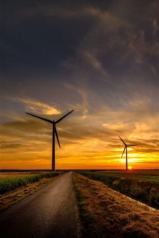 iPhone Wallpaper Road, fields, windmills, sunset, sky, clouds