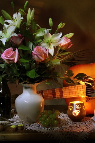 iPhone Wallpaper Rose and lily, vase, wine, guitar, music score, still life