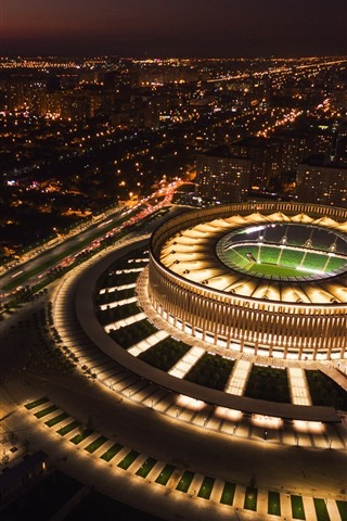 iPhone Wallpaper Russia, Krasnodar, stadium, top view, city, night