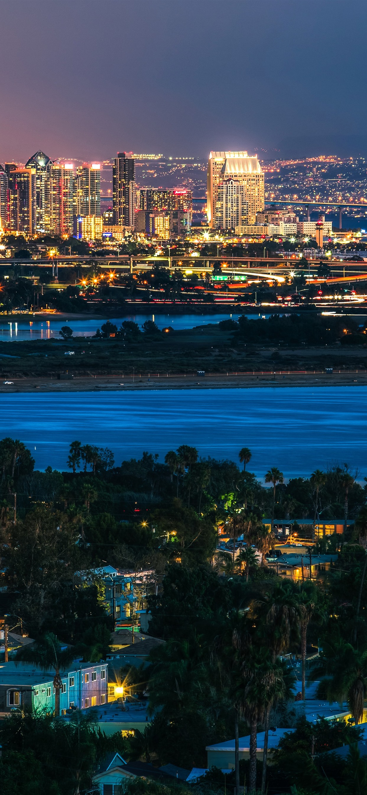 San Diego City Night River Lights Usa 1242x2688 Iphone 11 Pro Xs Max Wallpaper Background Picture Image