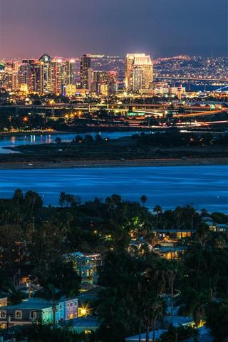 iPhone Wallpaper San Diego, city, night, river, lights, USA