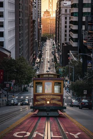 iPhone Wallpaper San Francisco, city, street, tram, USA