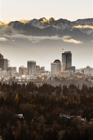 iPhone Wallpaper Seattle, skyscrapers, trees, fog, mountains, morning, USA