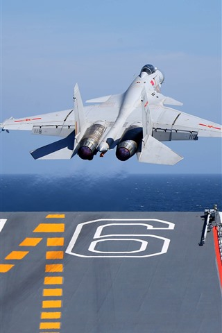 iPhone Wallpaper Shenyang J-15 fighter take off from carrier