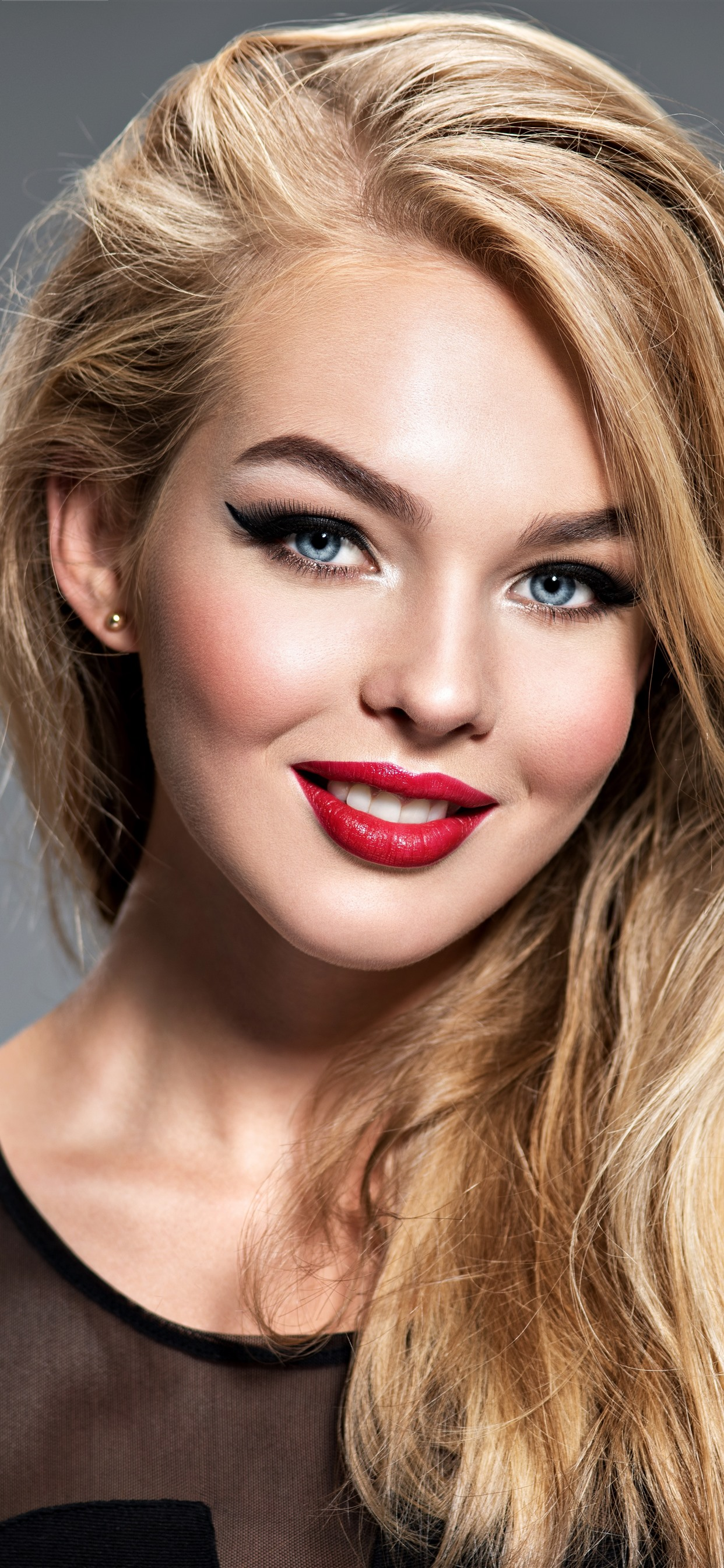 Smile Blonde Girl Blue Eyes Red Lip Makeup 1242x2688