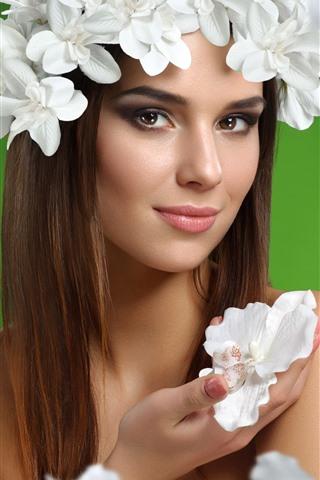 iPhone Wallpaper Smile girl, long hair, white flowers