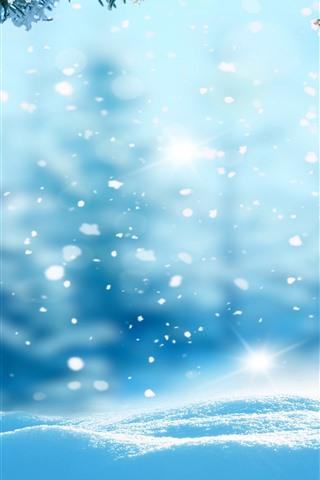 iPhone Wallpaper Snow, fir twigs, winter, shine
