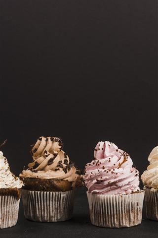 iPhone Papéis de Parede Alguns cupcakes, creme, comida