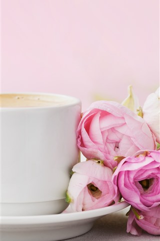 iPhone Wallpaper Some pink roses, one cup coffee